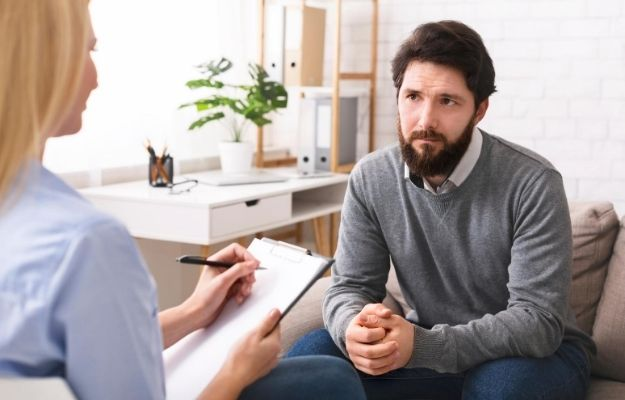 a man is sharing with the therapist | Talk it Out | Have You Lost Your Edge? How to Feel Better Again