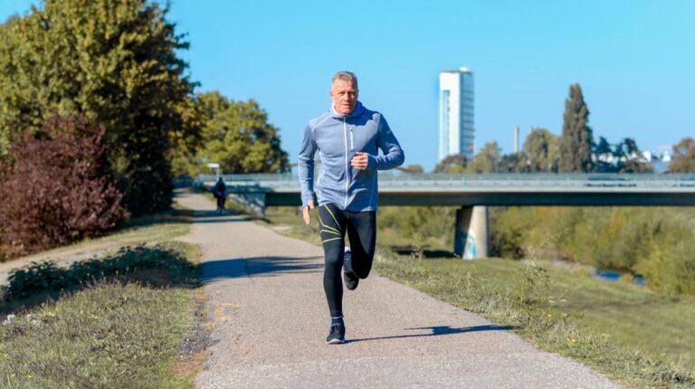 mature man doing a running workout