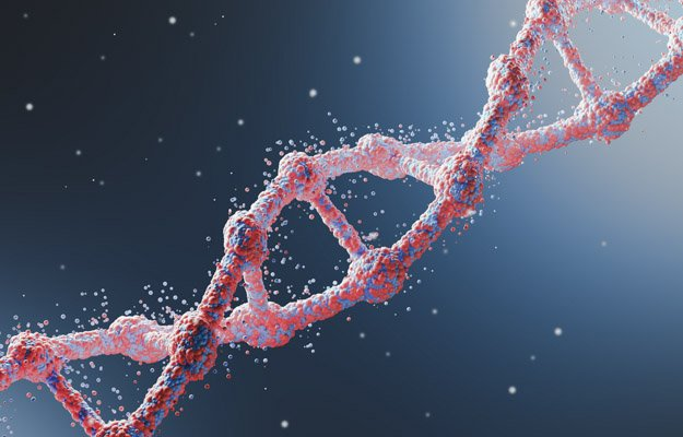 Close up of a red diagonal DNA chain against dark blue background. Concept of science. 3d rendering. | FUTURE OF MEDICINE - Where is Medicine Going in the 2020s