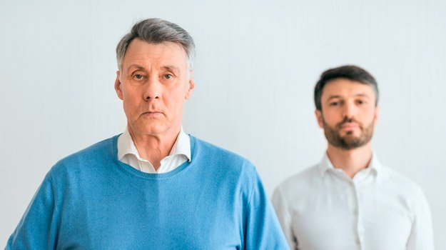 mature-man-with-his-middle-aged-son-portraits-how-parenting-affects-intimacy | How To Get Over Performance Anxiety and Intimacy Issues
