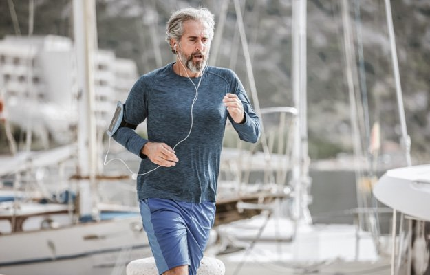 Active senior man jogging on a sunny day | 5 Simple Exercises for Building Muscles