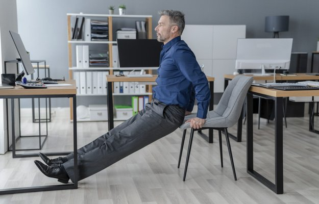 Triceps Dip Office Desk Chair Workout Exercise | 5 Simple Exercises for Building Muscles